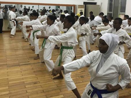 Karatedo instruction in Republic of Djibouti in Africa. ジブチ共和国空手道指導