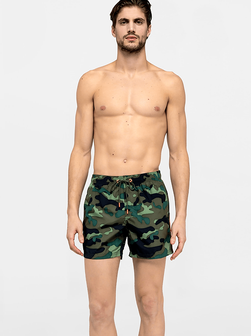 SUNDEK ELASTIC WAIST SWIM TRUNKS  CAMO