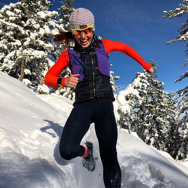 Amber Ferreira running in the snow