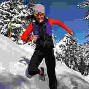 Amber Ferreira running in the snow
