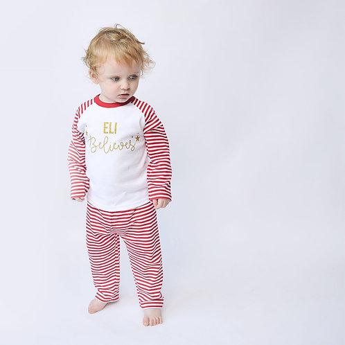 Personalised Stripe Christmas Pyjamas