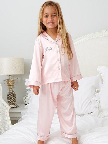 Girls Personalised Satin Pyjamas