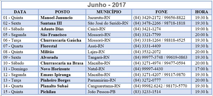 Calendário Pastoral Rodoviária