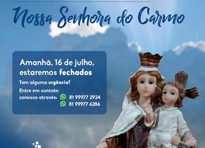 16 de Julho - Dia de Nossa Senhora do Carmo, Padroeira do Recife