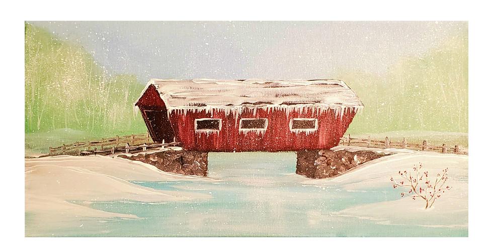 Winter Covered Bridge Paint Class