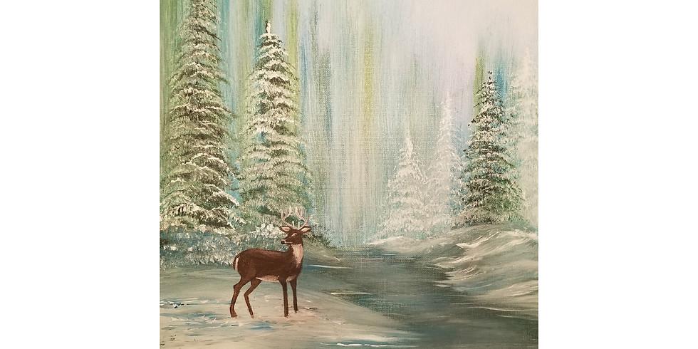 Winter Evening Deer