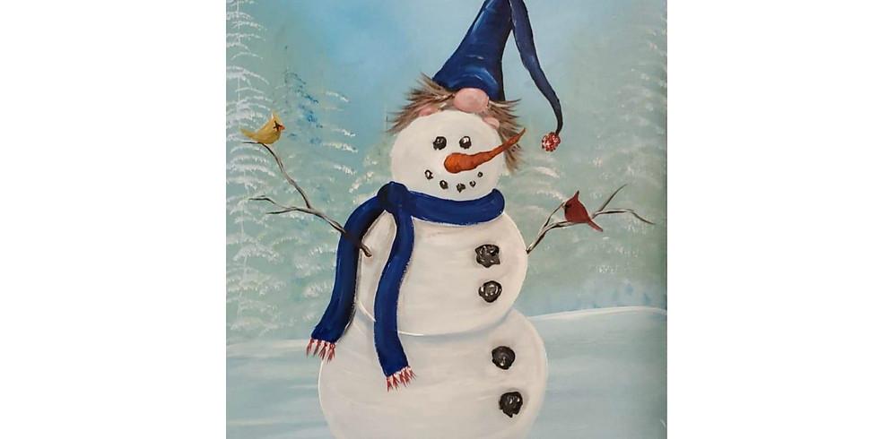 Playful Gnome Tops Snow Friend Paint Class #1