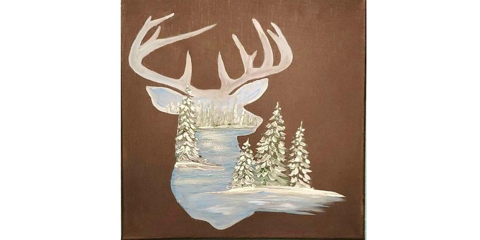 Deer on Canvas Paint Class #2