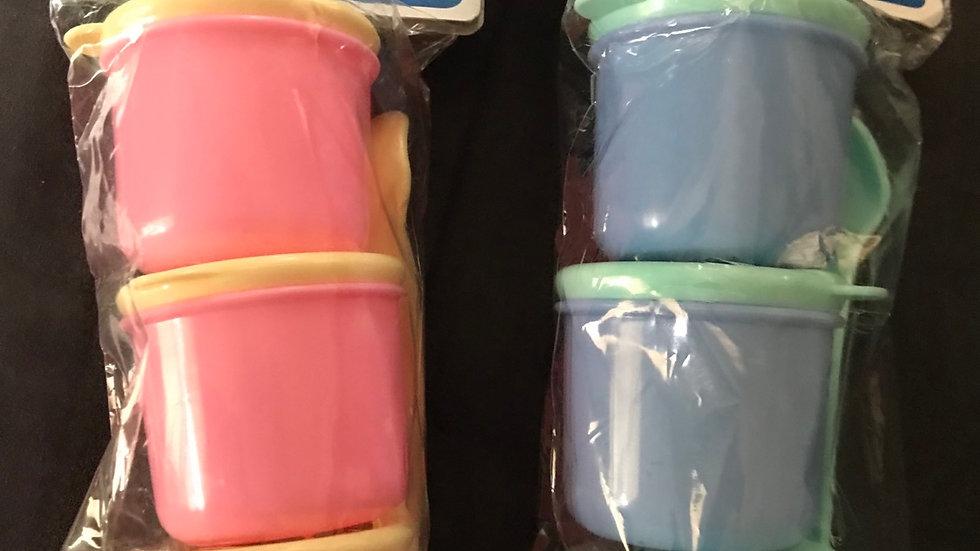 Kit importado de potinhos de papinha com tampa (cada kit)