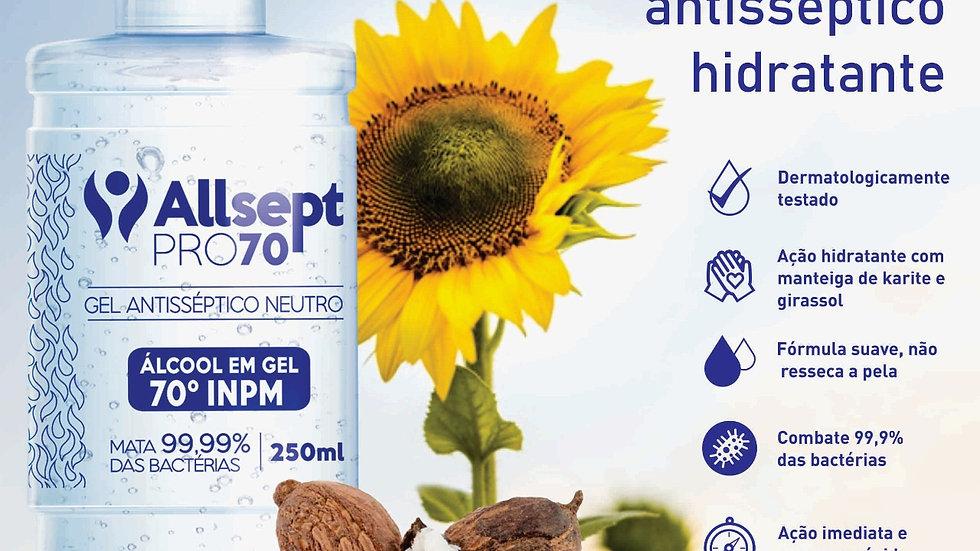 Higienizador de mãos antisséptico 250ml (álcool 70)