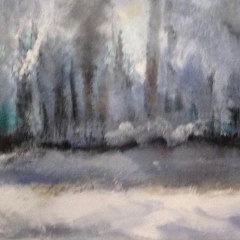 Erlenweiher (Acryl auf Leinwand, 80x30cm)