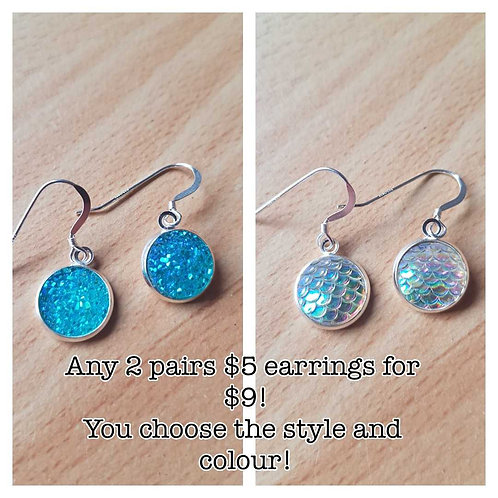 MIX AND MATCH! Any 2 pairs of $5.00 earrings for $9.00