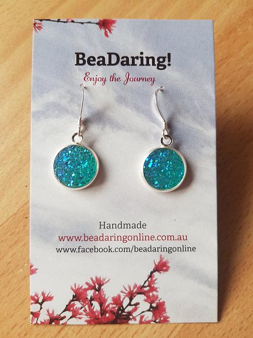 Light Blue Resin Druzy Earrings