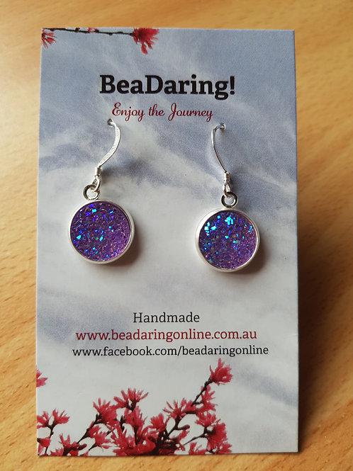 Purple Resin Druzy Earrings