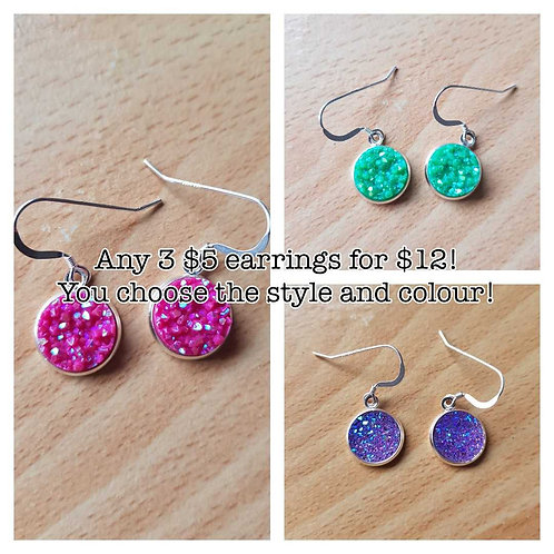 MIX AND MATCH! Any 3 pairs of $5.00 earrings for $12.00