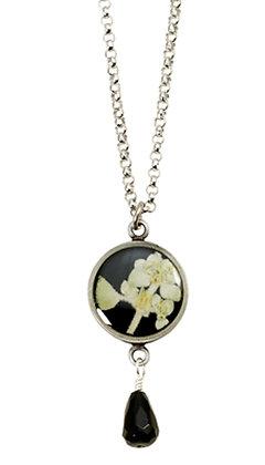 Shari Dixon Silver Leaf on Licorice Necklace w/ Black Onyx Drop