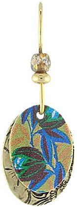 Black & Blue Botanical Brass Earrings