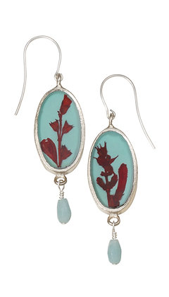 Shari Dixon Scarlet Gilia on Robin Small Oval Earrings w/ Stone Accent Drop