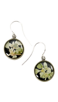 Shari Dixon Silver Leaf on Licorice Small Round Earrings