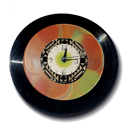 Deborah Dickinson Classic Black Vinyl Clock with Geometric Accents