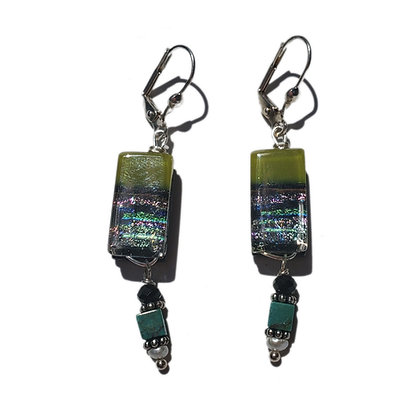 Dichroic Glass Earrings with Stones & Pearls