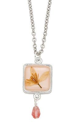 Shari Dixon Veronica Pale Pink Square w/ Drop Necklace