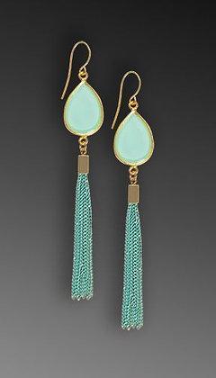 Shari Dixon Aqua Teardrop Long Tassel Earrings