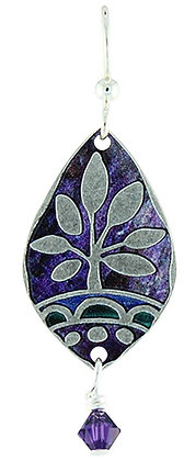 Silver plated nature pattern with sugilite and malachite color