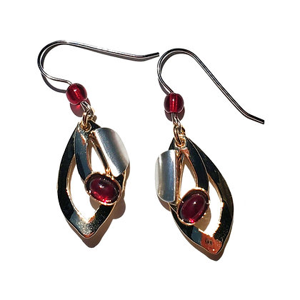 Poly Gold & Silver Earrings with Deep Red Glass