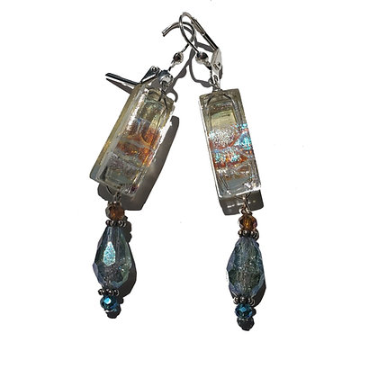 Dichroic Glass Earrings with Crystals