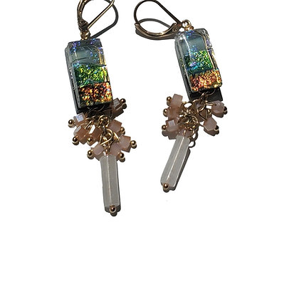 Dichroic Glass Earrings with Dangling Accents