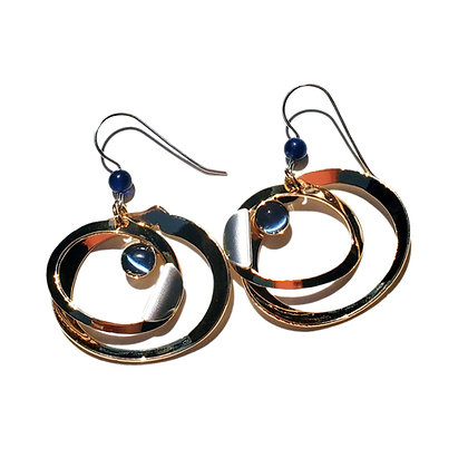 Poly Earrings with Blue Stone