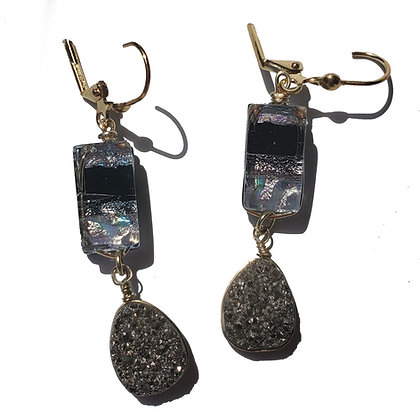 Dichroic Glass Earrings with Quartz Druzy