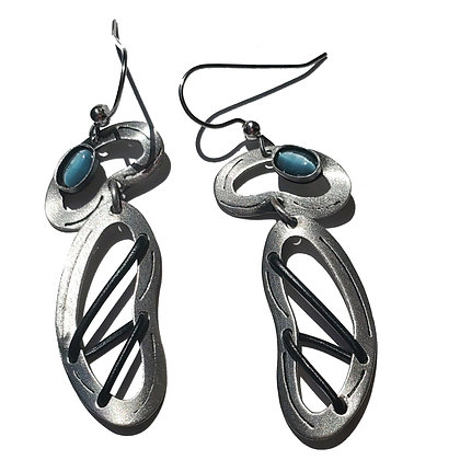 Gunmetal Silver Poly Earrings with Blue Glass