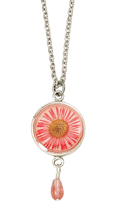 Shari Dixon Pink Daisy Small Round Necklace w/ Drop