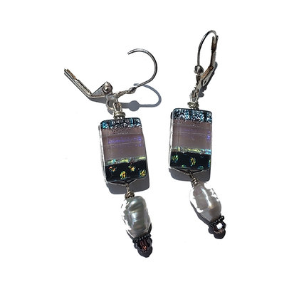 Dichroic Glass Earrings with Pearls