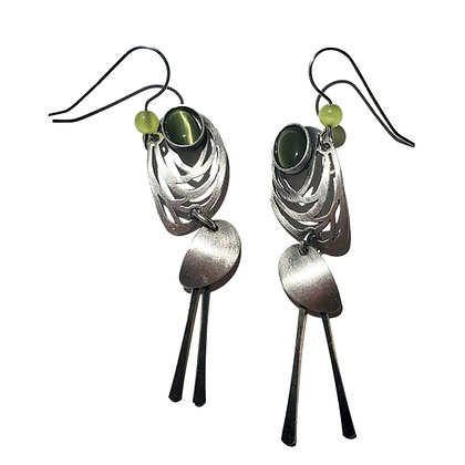 Silver Poly Earrings with Lime Green Glass