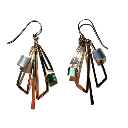 Poly Gold & Silver Earrings with Green Glass