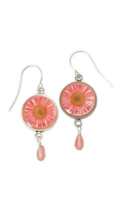 Shari Dixon Pink Daisy Small Round Earrings w/Drop