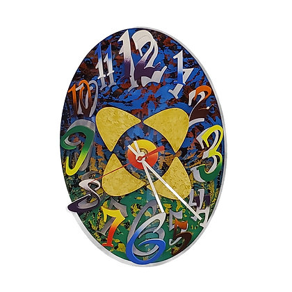 David Scherer Multicolored Oval Clock