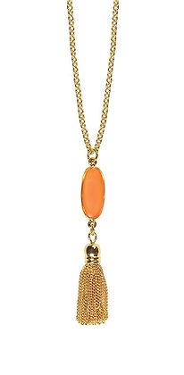 Shari Dixon Nectarine Oval Tassel Necklace