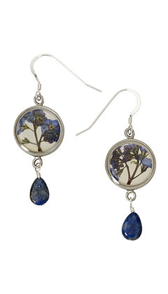 Shari Dixon Forget Me Not Small Round Earrings with Lapis Drop