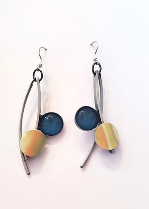 Brushed Silver Gold Accented Poly Earrings