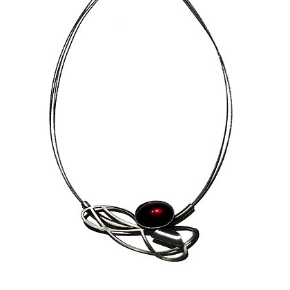 Red Glass Double Wire Poly Necklace