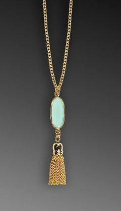 Shari Dixon Aqua Oblong Tassle Necklace