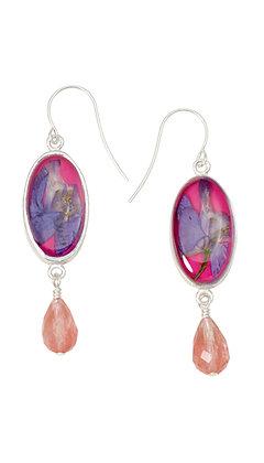 Shari Dixon Larkspur Magenta Oval Earrings w/ Drop