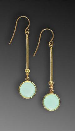 Shari Dixon Small Round Long Aqua Tassel Earring
