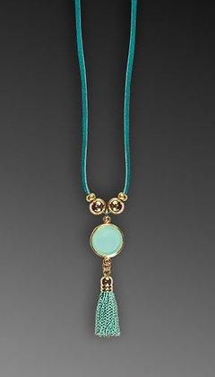 Shari Dixon Aqua Round Tassel Necklace