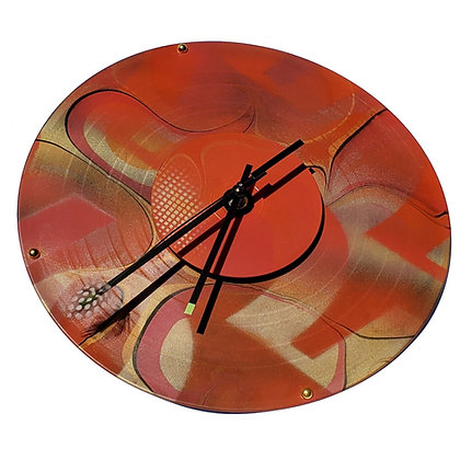 Deborah Dickinson Orange and Red Wall Clock with Feather Second Hand