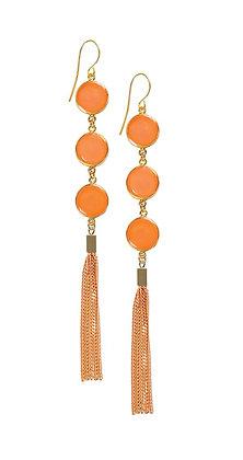 Shari Dixon Nectarine Triple Round Tassel Earrings